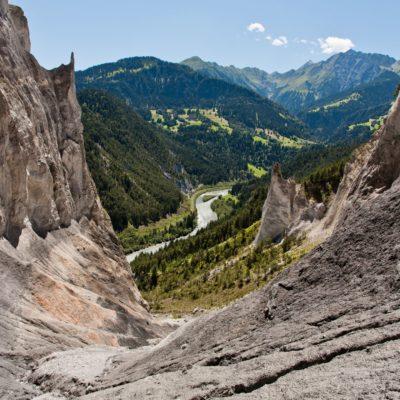 Sicht vom Ende der Schlucht - Ruin Aulta, Rhein - 13. Juli 2007