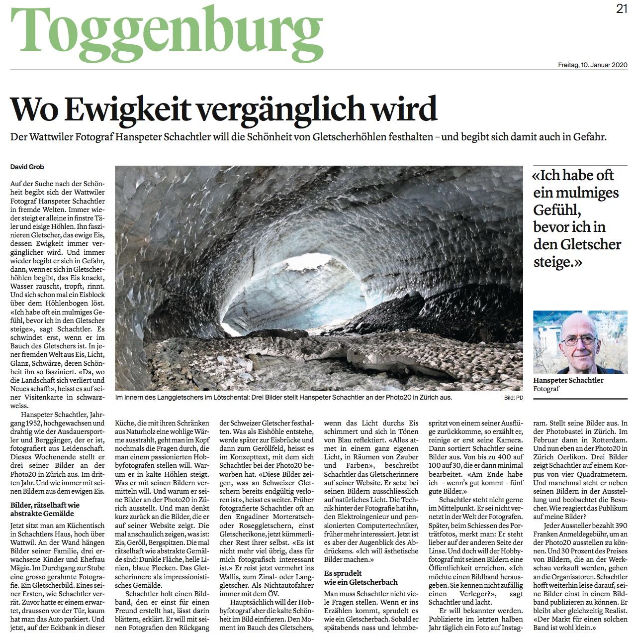 Portrait von Hanspeter Schachtler im Tagblatt vom 10. Januar 2020.